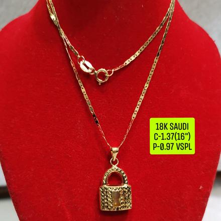 """圖片 18K Saudi Gold Necklace with Pendant, Chain 1.37g, Pendant 0.97g, Size 16"""", 2805N137"""