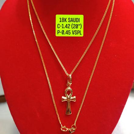 """圖片 18K Saudi Gold Necklace with Pendant, Chain 1.42g, Pendant 0.45g, Size 20"""", 2805N142"""