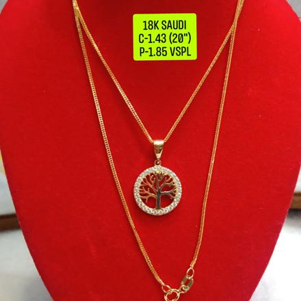 """圖片 18K Saudi Gold Necklace with Pendant, Chain 1.43g, Pendant 1.85g, Size 20"""", 2805N143T"""