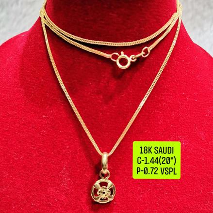 """圖片 18K Saudi Gold Necklace with Pendant, Chain 1.44g, Pendant 0.72g, Size 20"""", 2805N144"""