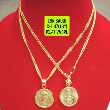 """圖片 18K Saudi Gold Necklace with Pendant, Chain 1.47g, Pendant 1.47g, Size 16"""", 2805N147"""