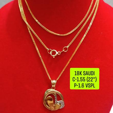 """圖片 18K Saudi Gold Necklace with Pendant, Chain 1.55g, Pendant 1.6g, Size 22"""", 2805N155"""