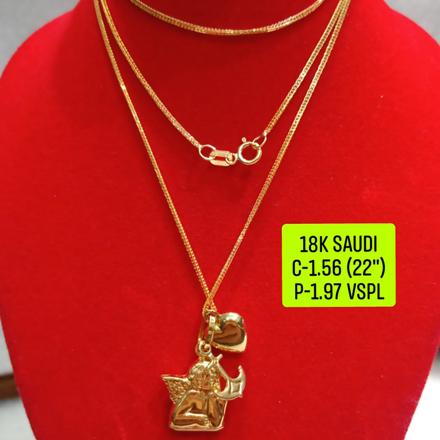 """圖片 18K Saudi Gold Necklace with Pendant, Chain 1.56g, Pendant 1.97g, Size 22"""", 2805N156"""