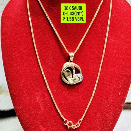 """圖片 18K Saudi Gold Necklace with Pendant, Chain 1.43g, Pendant 1.58g, Size 20"""", 2805N158"""