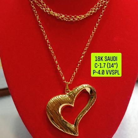 """圖片 18K Saudi Gold Necklace with Pendant, Chain 1.7g, Pendant 4.0g, Size 14"""", 2805N174"""