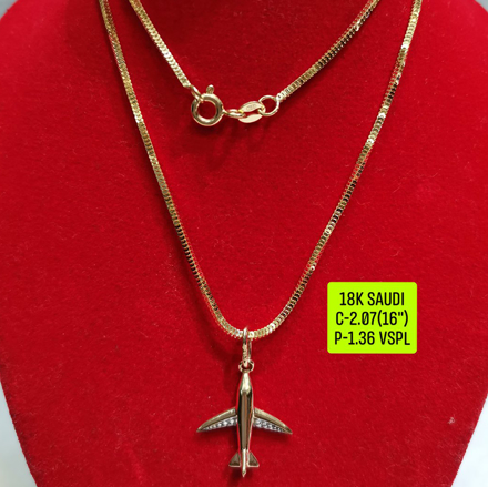 """圖片 18K Saudi Gold Necklace with Pendant, Chain 2.07g, Pendant 1.36g, Size 16"""", 2805N207"""