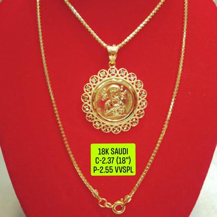 """圖片 18K Saudi Gold Necklace with Pendant, Chain 2.37g, Pendant 2.55g, Size 18"""", 2805N237"""