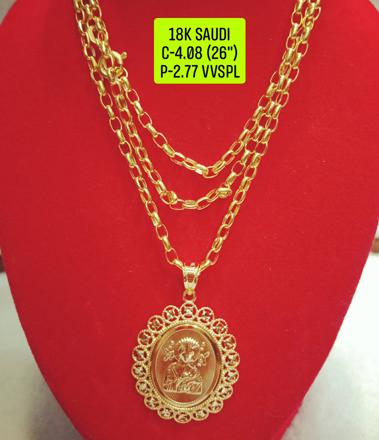 """圖片 18K Saudi Gold Necklace with Pendant, Chain 4.08g, Pendant 2.77g, Size 26"""", 2805N408"""
