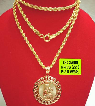 """圖片 18K Saudi Gold Necklace with Pendant, Chain 4.76g, Pendant 3.0g, Size 22"""", 2805N476"""