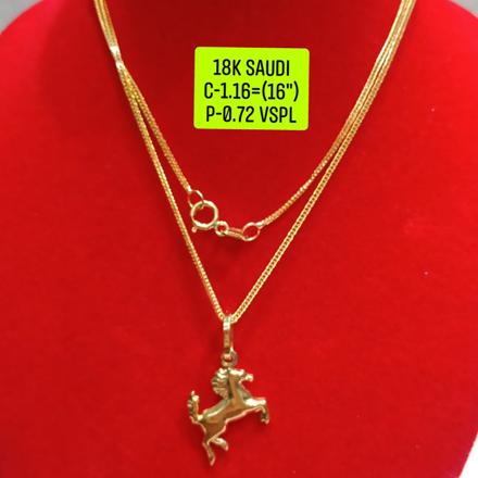 """圖片 18K Saudi Gold Necklace with Pendant, Chain 1.16g, Pendant 0.72g, Size 16"""", 2805N1160"""