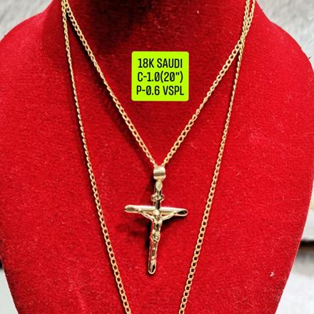"""圖片 18K Saudi Gold Necklace with Pendant, Chain 1.0g, Pendant 0.6g, Size 20"""", 2805NC10"""
