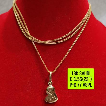 """圖片 18K Saudi Gold Necklace with Pendant, Chain 1.55g, Pendant 0.77g, Size 22"""", 2805NW155"""