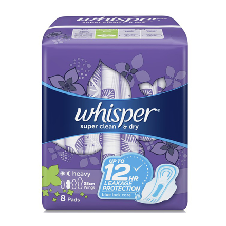 圖片 Whisper Super Clean & Dry, Heavy Flow & Overnights 8 Pads With Wings,  WHI117