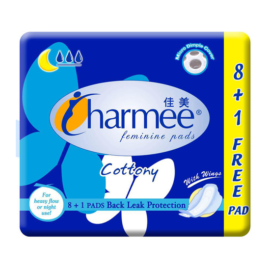 Picture of Charmee  Cottony Sanitary Napkin for Heavy Flow or Night Use  with Wings 8 + 1 Pad, CHA39A