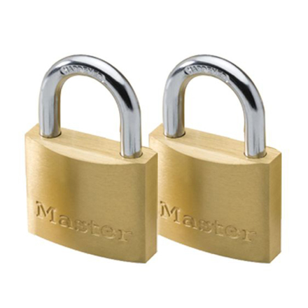 图片 Master Lock 50MM Hard Steel Shackle, 2 Pieces Key-Alike Brass Padlock, MSP1903T