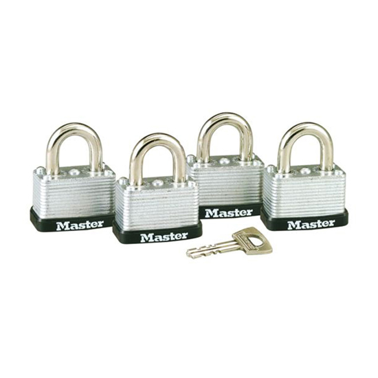 Picture of Master Lock 38MM 16MM Shackle, 4 Pieces Key-Alike Laminated Steel Padlock, MSP3009D