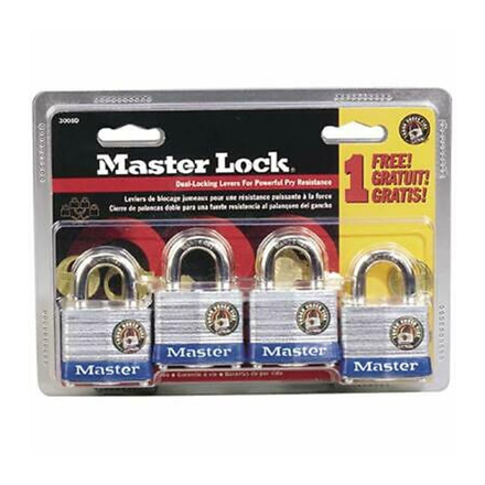 圖片 Master Lock Laminated Steel Padlocks (Zinc Body) 4pcs, 3008D