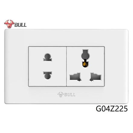 图片 Bull 2 Gang Universal Outlet Set (White), G04Z225