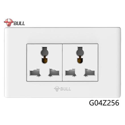 图片 Bull 2 Gang Universal Outlet Set (White), G04Z256