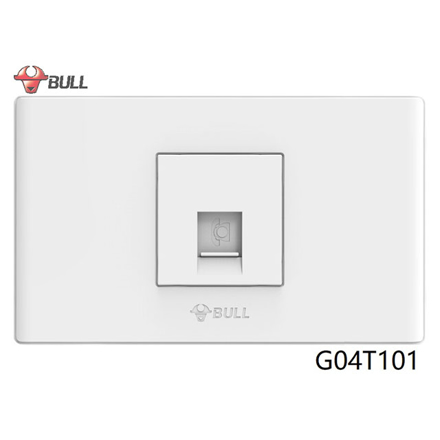 图片 Bull 1 Gang Telephone Outlet Set (White), G04T101