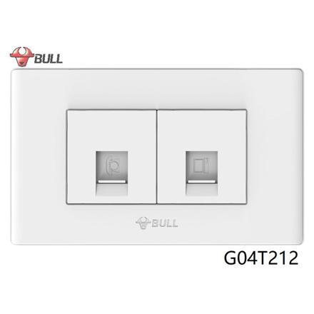 图片 Bull Telephone and Computer Outlet Set (White), G04T212