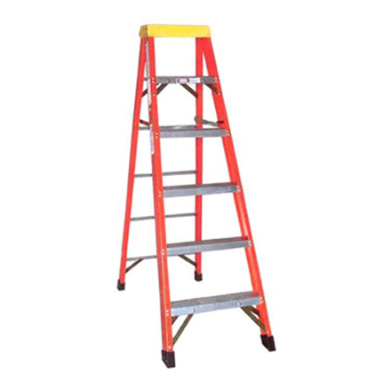 图片 Jinmao 5 Step Fiberglass 6.5' Household Ladder with Big Aluminum Tray Orange 300 lbs, JMFM11105IA