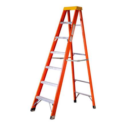 图片 Jinmao 6 Step Fiberglass 7' Step Ladder 300 lbs Orange, JMFM22106IA