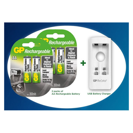 图片 GP 2 Packs of AA Rechargeable Battery and USB Battery Charger, GPBATCHAR0521