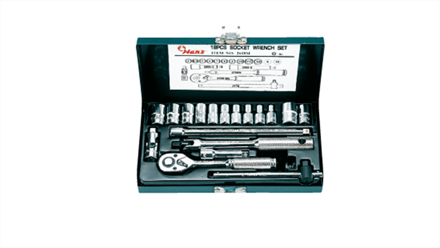 """Picture of Hans 1/4"""" Drive 12 Points 18 Pcs. Socket Wrench Set - Metric Size"""