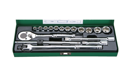 """Picture of Hans 3/8"""" DR. 6 Points 18 Pcs. Socket Wrench Set - Metric Size"""