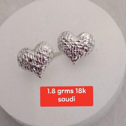 Picture of Saudi White Gold Earrings 18K - 1.8g