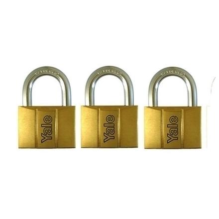 图片 Brass Padlocks Key Alike 3 pieces, Multi-Pack V140.50KA3