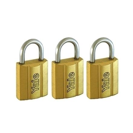 图片 Brass Padlocks Key Alike 3 Pieces, Multi-Pack V140.25KA3