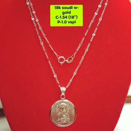 """Picture of 18K Saudi White Gold Necklace with Pendant, Chain 1.54g, Pendant 1.0g, Size 18"""", 20723N15410"""
