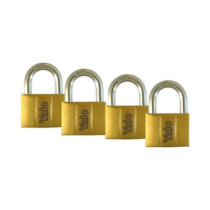 Picture of Yale V140.25 KA4, Standard Shackle Brass Padlocks 140 Series Key Alike 4, V14025KA4