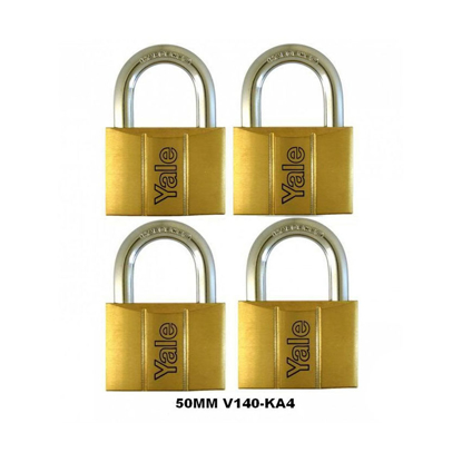 Picture of Yale V140.50 KA4, Standard Shackle Brass Padlocks 140 Series Key Alike 4, V14050KA4