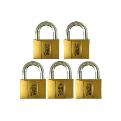 Picture of Yale V140.60 KA5, Standard Shackle Brass Padlocks 140 Series Key Alike 5, V14060KA5