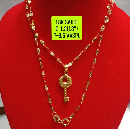 """Picture of 18K Saudi Gold Necklace with Pendant, Chain 1.2g, Pendant 0.5g, Size 18"""", 2805N12"""