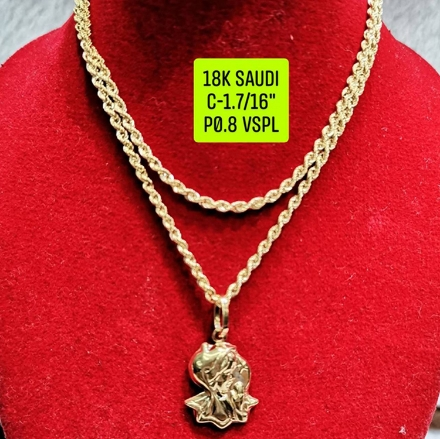 """Picture of 18K Saudi Gold Necklace with Pendant, Chain 1.7g, Pendant 0.8g, Size 16"""", 2805N17"""
