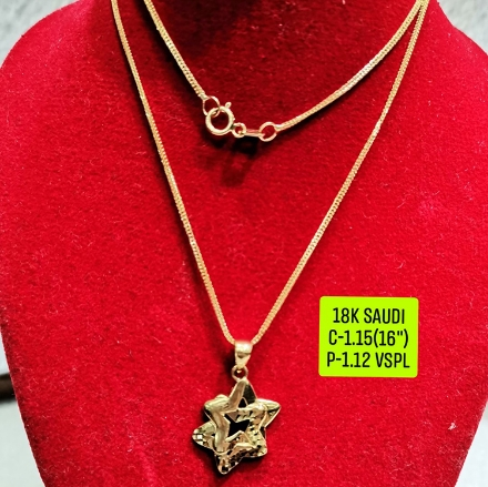 """Picture of 18K Saudi Gold Necklace with Pendant, Chain 1.15g, Pendant 1.12g, Size 16"""", 2805N115"""