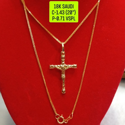 """Picture of 18K Saudi Gold Necklace with Pendant, Chain 1.43g, Pendant 0.71g, Size 20"""", 2805N143"""