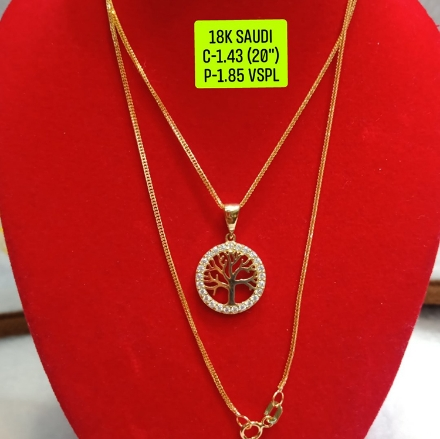 """Picture of 18K Saudi Gold Necklace with Pendant, Chain 1.43g, Pendant 1.85g, Size 20"""", 2805N143T"""