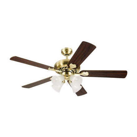 """Picture of Westinghouse Swirl Deluxe 52"""" Satin Brass Ceiling Fan, WH5SW52SB4"""