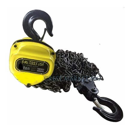 Picture of S-Ks Tools USA 1T Heavy Duty 1 Ton Chain Block (Yellow/Black), 1T