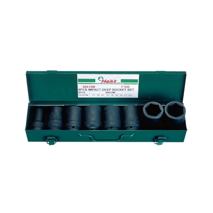 """Picture of Hans 1"""" Drive 8 Pcs. Deep Impact Socket Set-Inches Size, 88610A"""
