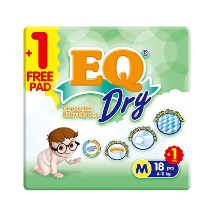 Picture of EQ Diaper Dry Medium 18+1's, EQ027A