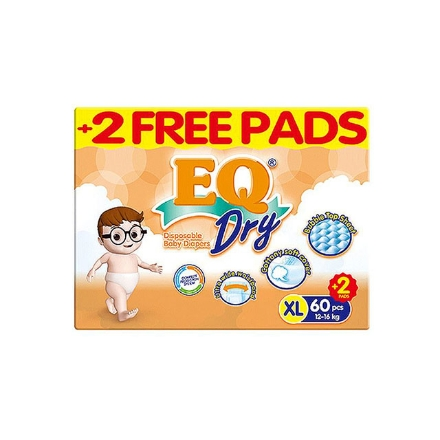 Picture of EQ Diaper Dry Xtra Large 60+2's, EQ075