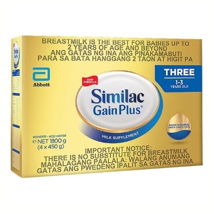 Picture of Similac Gain Plus Three Milk Box 1-3 Years Old 1.8 kg, SIM16