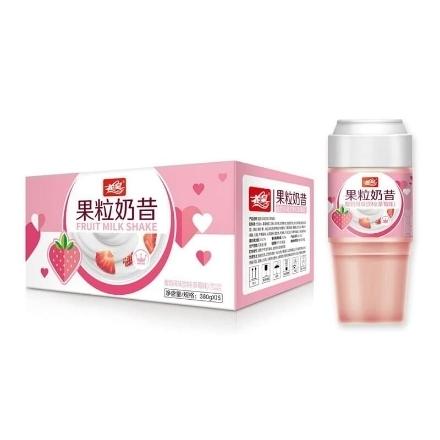 Picture of Huahuang Real Fruit Milkshake, flavor (Strawberries, cheese, ice cream) 380ml, 1 bottle, 1*15 bottle