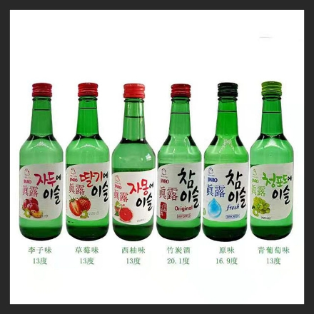 Picture of Korean Jinro Wine, Flavor(Green Grape, Grapefruit, Strawberry, Plum, Original 16.9, Original 20.1) 360ml, 1 bottle, 1*20 bottle